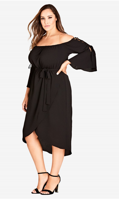 Off The Shoulder Black Dress Plus Size