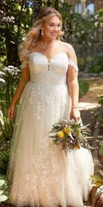 Off The Shoulder Wedding Dress Plus Size