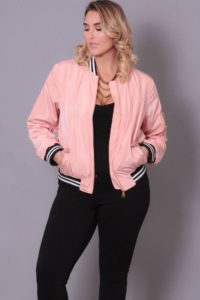 Pink Bomber Jacket in Plus Sizes
