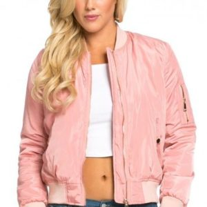 Pink Plus Size Bomber Jacket