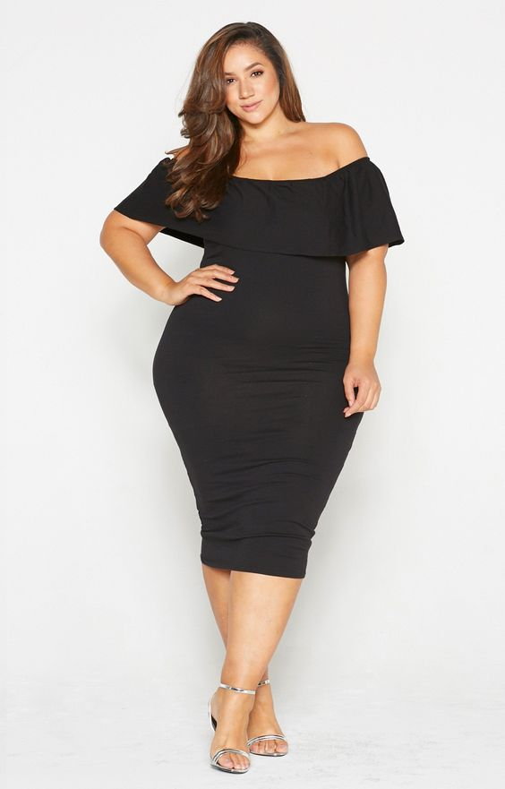 Plus Size Black Off Shoulder Dress