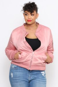 Plus Size Blush Pink Bomber Jacket
