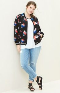 Plus Size Bomber Jacket in Floral Print
