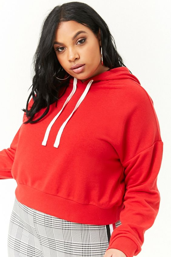 Plus Size Cropped Hoodie Images