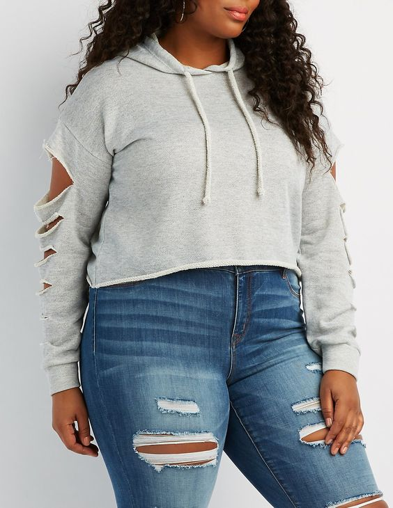 Plus Size Cropped Hoodies