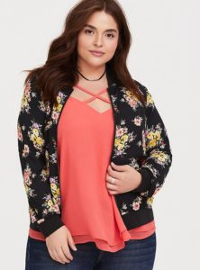 Plus Size Floral Bomber Jackets