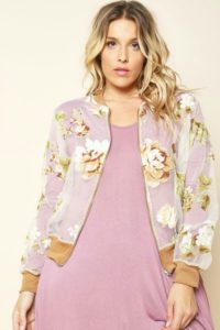 Plus Size Floral Bomber Long Jacket