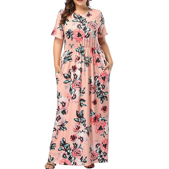 Plus Size Floral Maxi Dress with Pockets