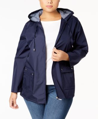 Plus Size Hood Rain Jacket