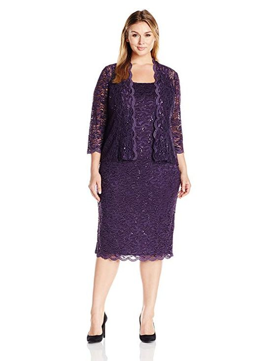 Plus Size Lace Jacket Dresses for Women