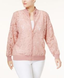 Plus Size Light Pink Bomber Jackets
