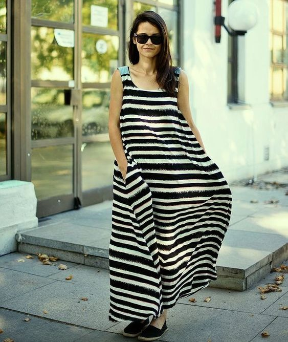 Plus Size Maxi Dress with Pocket