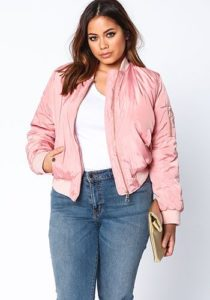 Plus Size Pink Bomber Jacket