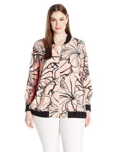 Plus Size Pink Floral Bomber Jackets