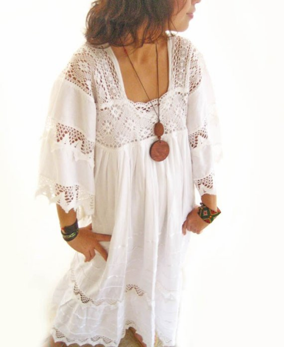 Plus Size White Boho Dress Women