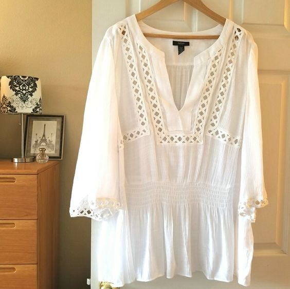 Plus Size White Boho Shirt Dress