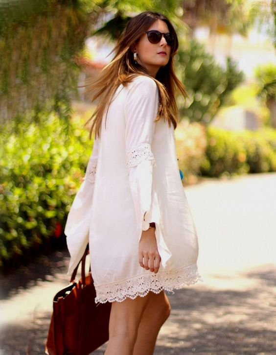 Plus Sized White Boho Dress