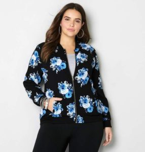 Plus Sizes Floral Bomber Jacket