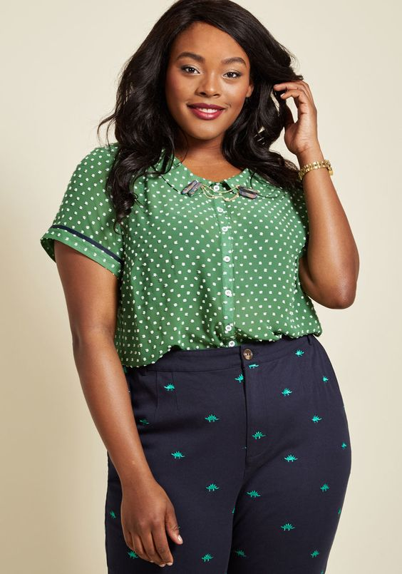 Polka Dot Blouse Plus Size