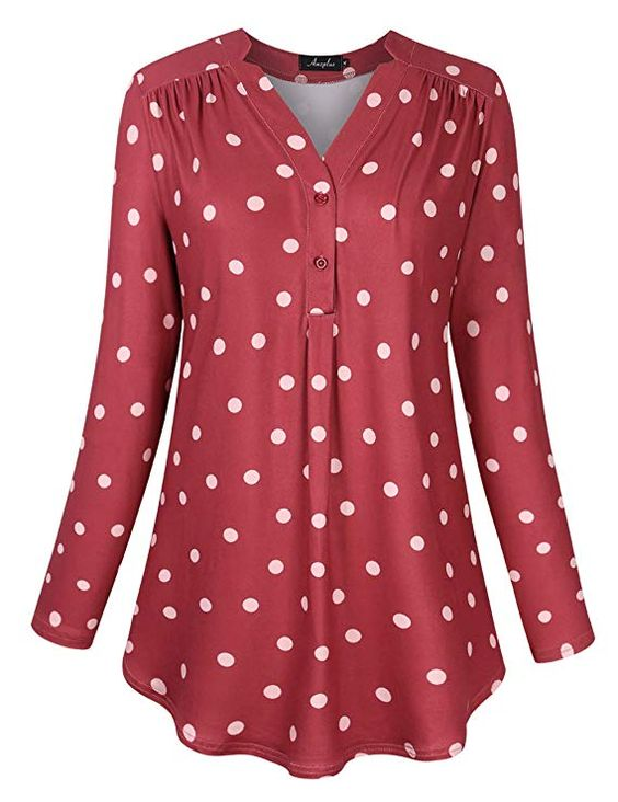 Red Polka Dot Blouse in Plus Size