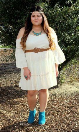 White Boho Dress Plus Size