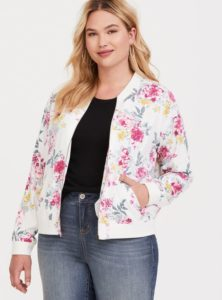 White Bomber Jacket Floral in Plus Size