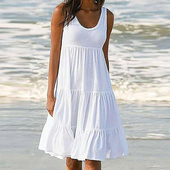 White Plus Size Boho Dress