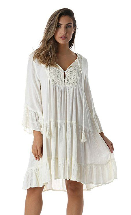 White Plus Size Boho Dresses