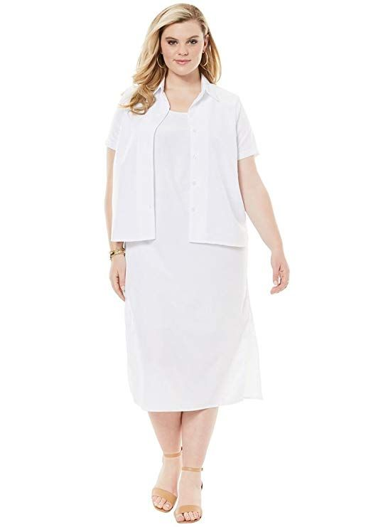 White Plus Size Jacket Dresses Woman