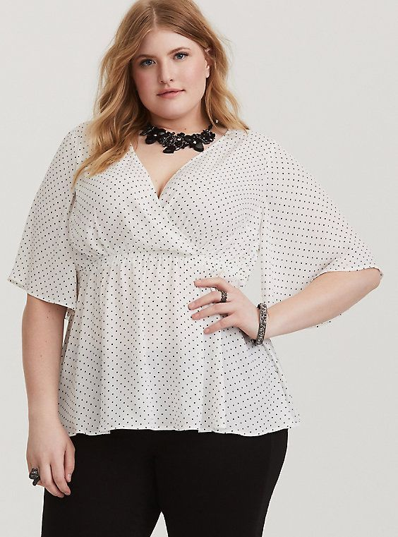 White Polka Dot Blouse in Plus Size