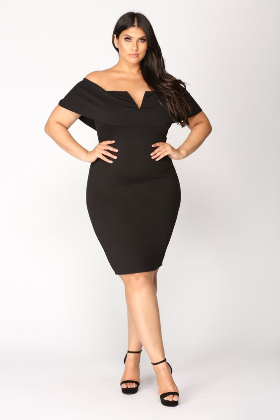 Women's Black Off The Shoulder Dress Plus Size