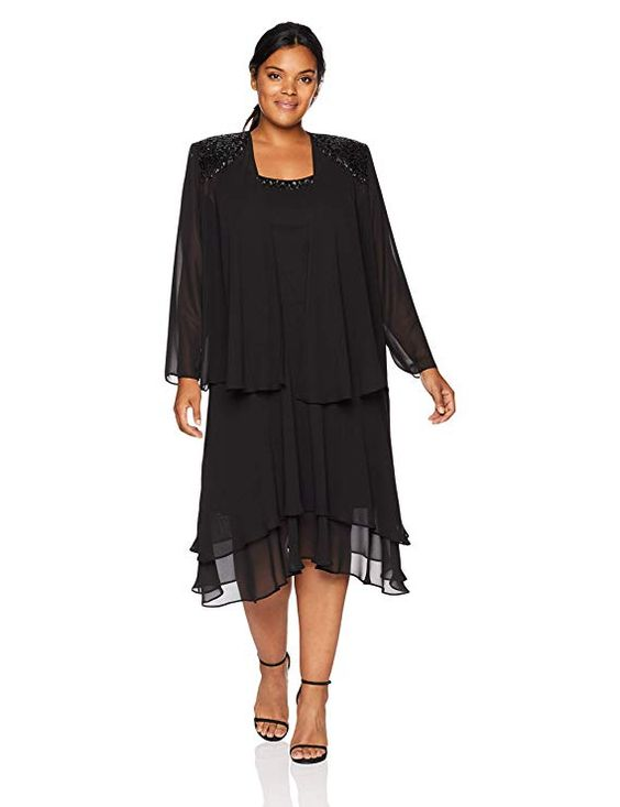 Women's Black Plus Size Jacket Dress