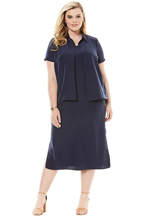 Women's Plus Size Jacket Dress