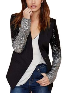 Black Sequin Jacket Plus Size