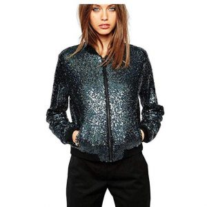 Black Sequin Plus Size Jacket
