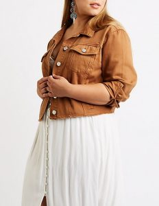 Cropped Jean Jacket Plus Size