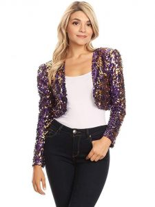 Cropped Sequin Shrug Jacket