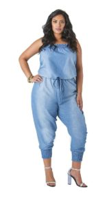 Denim Plus Sized Jumpsuit