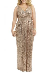 Gold Plus Size Prom Dress
