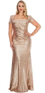 Gold Plus Size Prom Dresses for Women