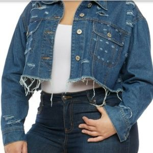 Ladies Plus Size Cropped Jean Jacket