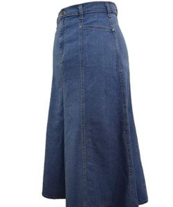 Long Denim Plus Size Skirt