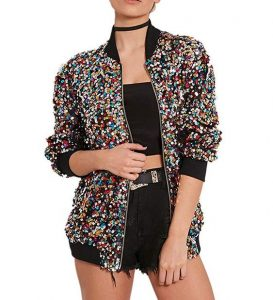 Multi Colored Sequin Bomber Jacket