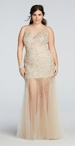 Plus Size Gold Dress for Prom Night