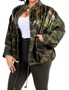Plus Size Gold Sequin Coat