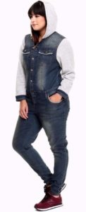 Plus Size Hooded Denim Jumpsuit