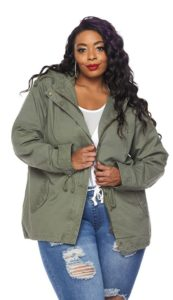 Plus Size Hooded Parka Coat
