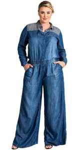 Plus Size Jean Jumpsuit with Sleeves