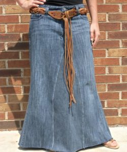 Plus Size Long Denim Skirt