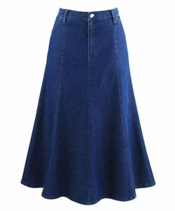 Plus Size Long Denim Skirt for Women